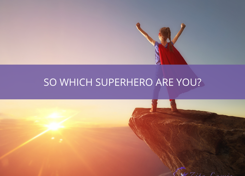 Photography of superhero standing on a rock looking at the sunset with text overlay So which superhero are you?