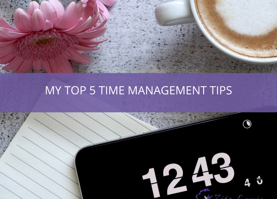 PHotography of phone, notepad, pink flowers and a coffee cup with the text overlay saying My Top 5 Time Management Tips