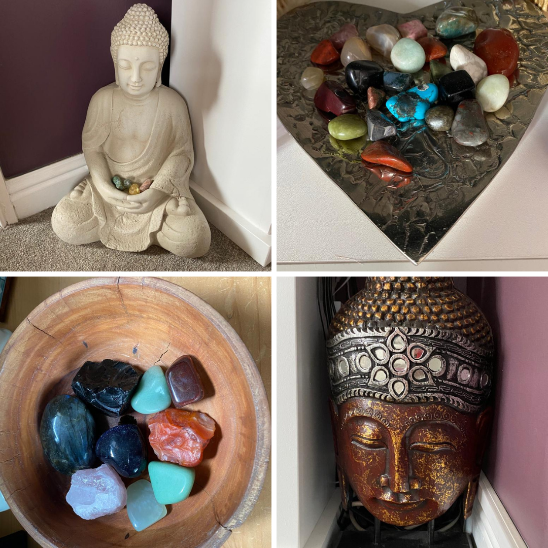 Picture of crystals and buddhas